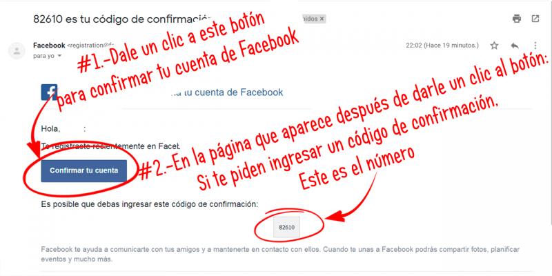 botón de confirmación de cuentas de Facebook enviados por correo electrónico