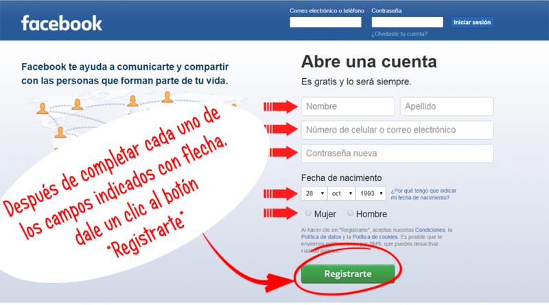 formulario de registro de cuentas de Facebook