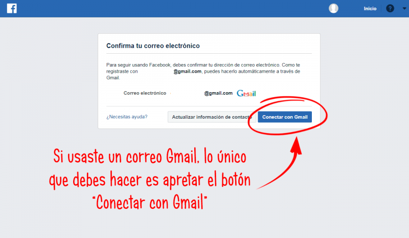 verificación de cuenta en facebook con una cuenta de correo gmail activa