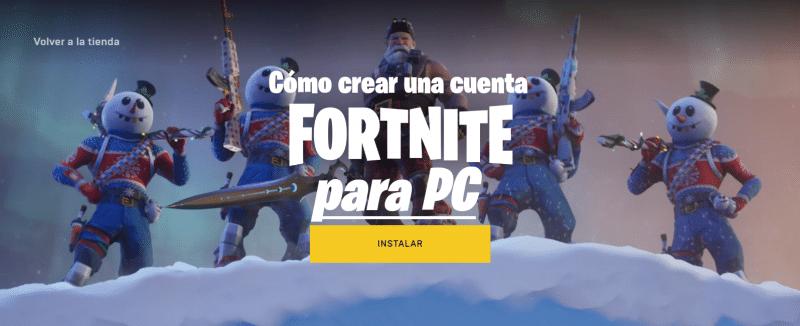 cómo crear una cuenta Fortnite para PC