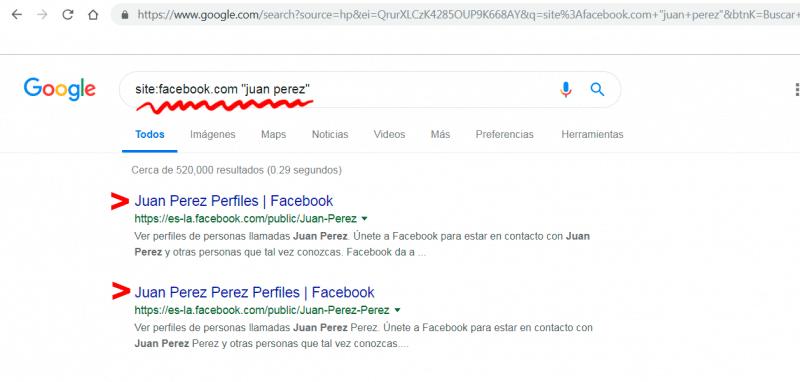 buscar personas en Facebook por nombre y apellido desde Google